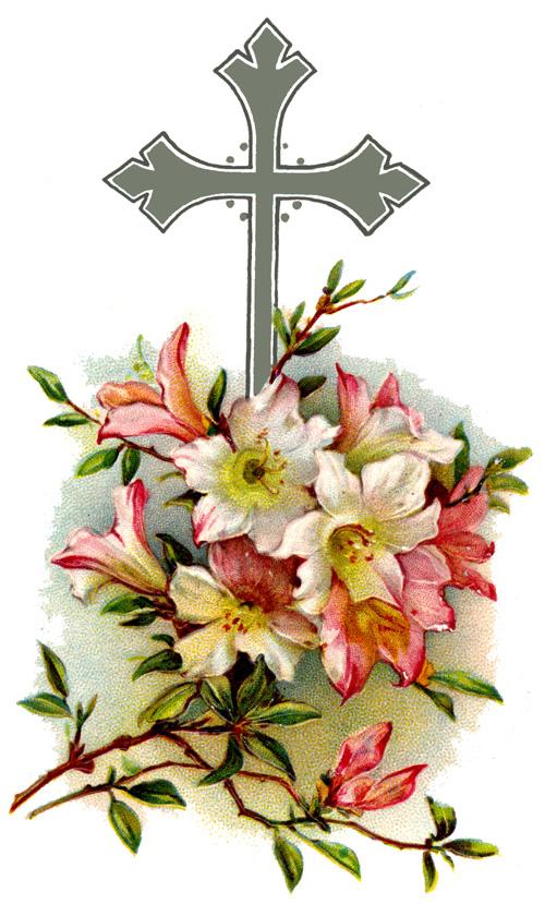 500x829 Vintage Flower Clipart Vintage Cross