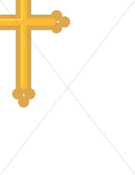 472x612 Gold Cross Page Corner Religious Borders