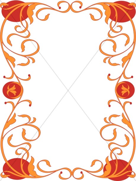 459x612 Orange Flower Clipart Border Decoration