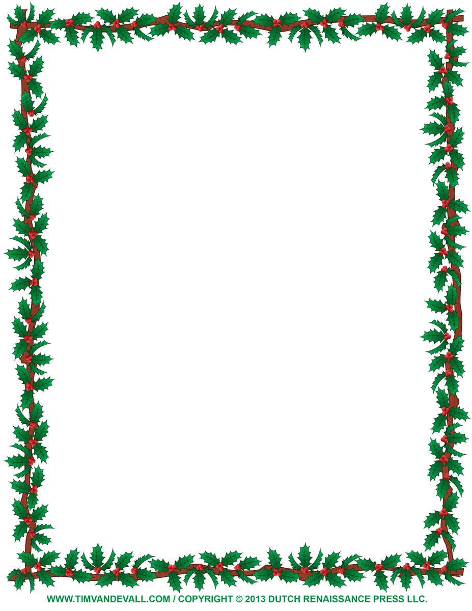 927x1200 Free Christmas Borders To Print Christmas Clipart Borders Holly