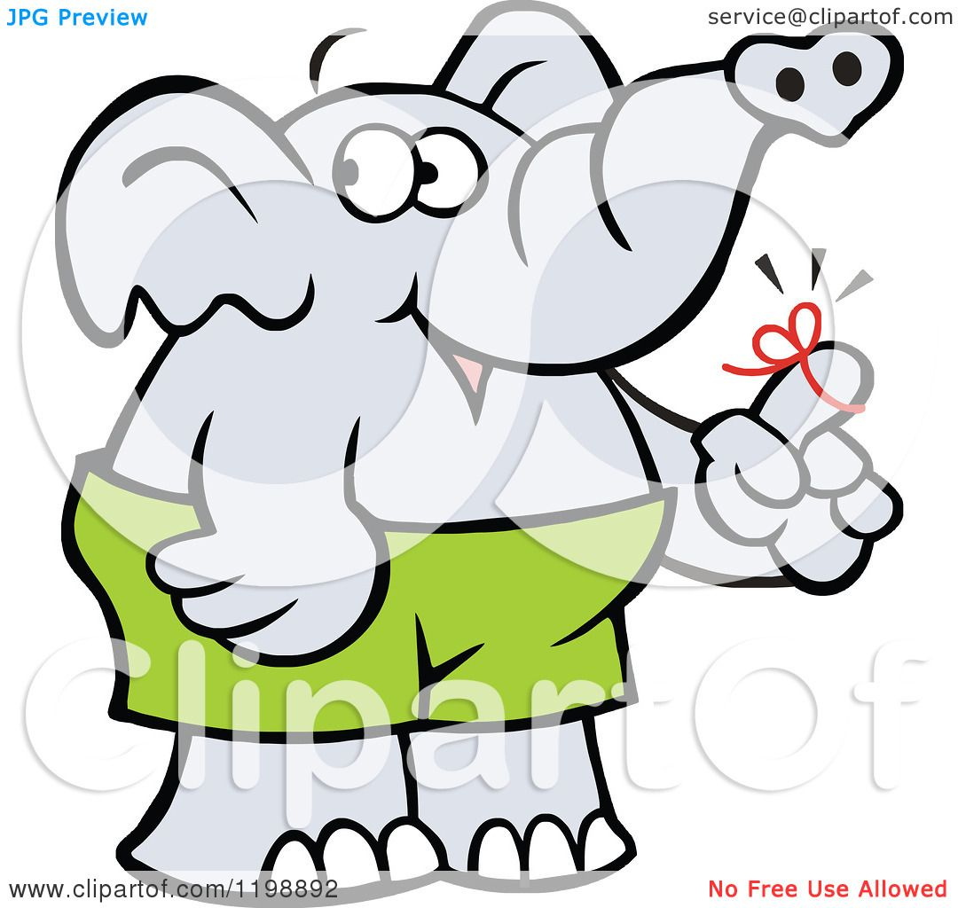 1080x1024 Cartoon Of A Forgetful Elephant With A Reminder Ribbon On His