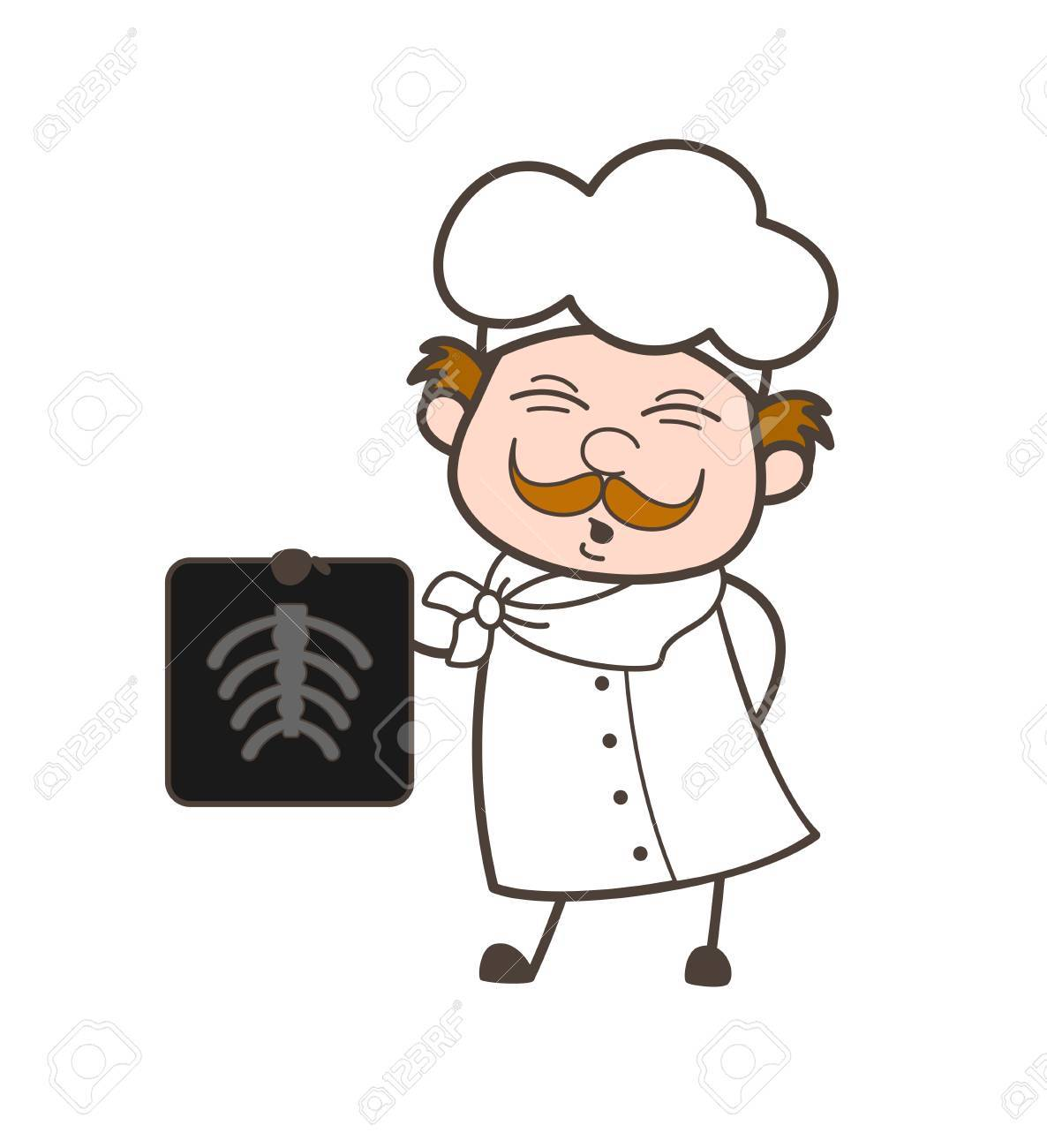 1186x1300 Cartoon Chef Showing X Ray Report Vector Illustration Royalty Free