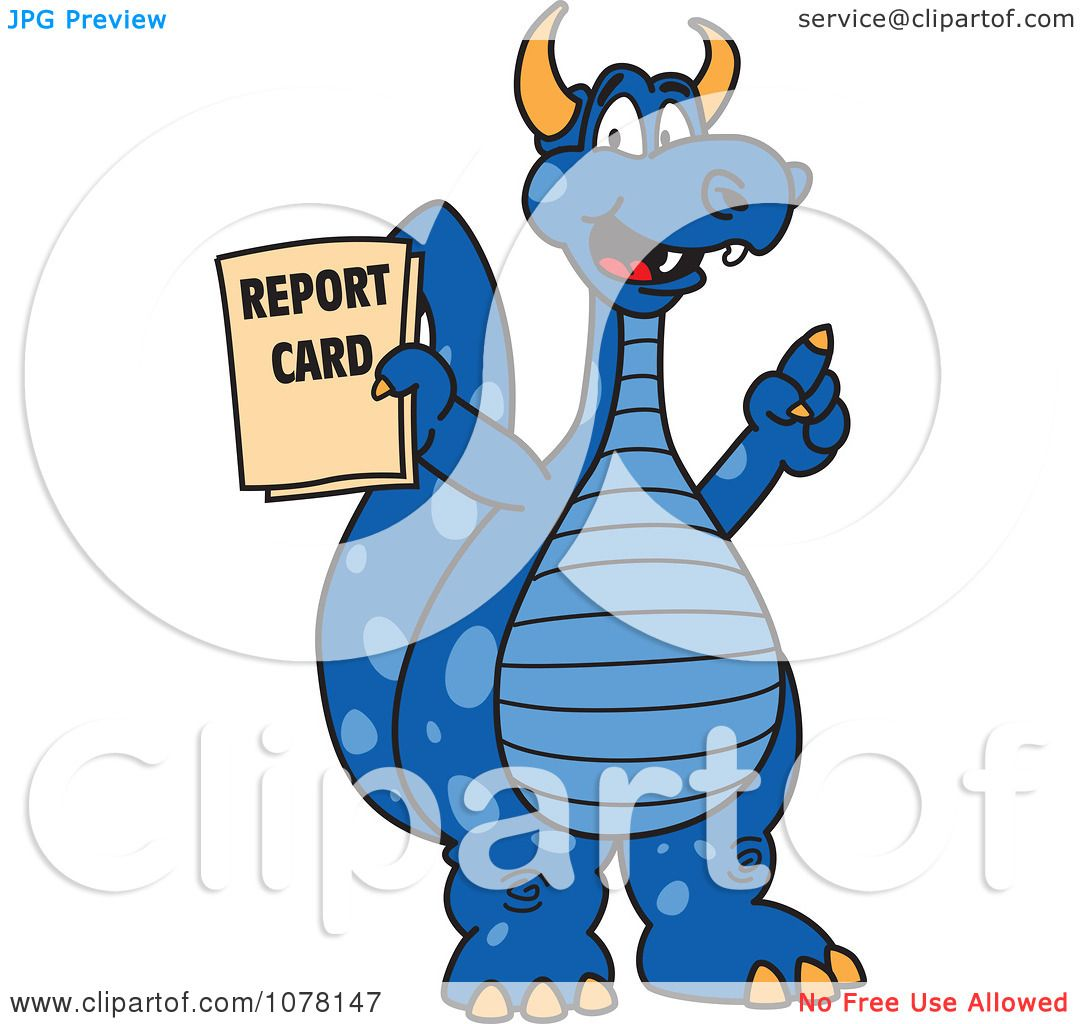 1080x1024 Clipart Blue Dragon School Mascot Holding A Report Card
