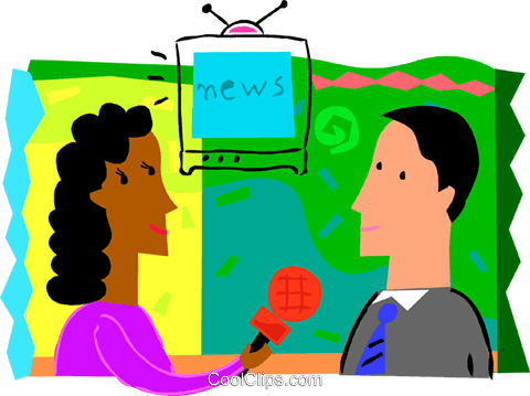 480x359 Female News Reporter Interviewing Man Royalty Free Vector Clip Art