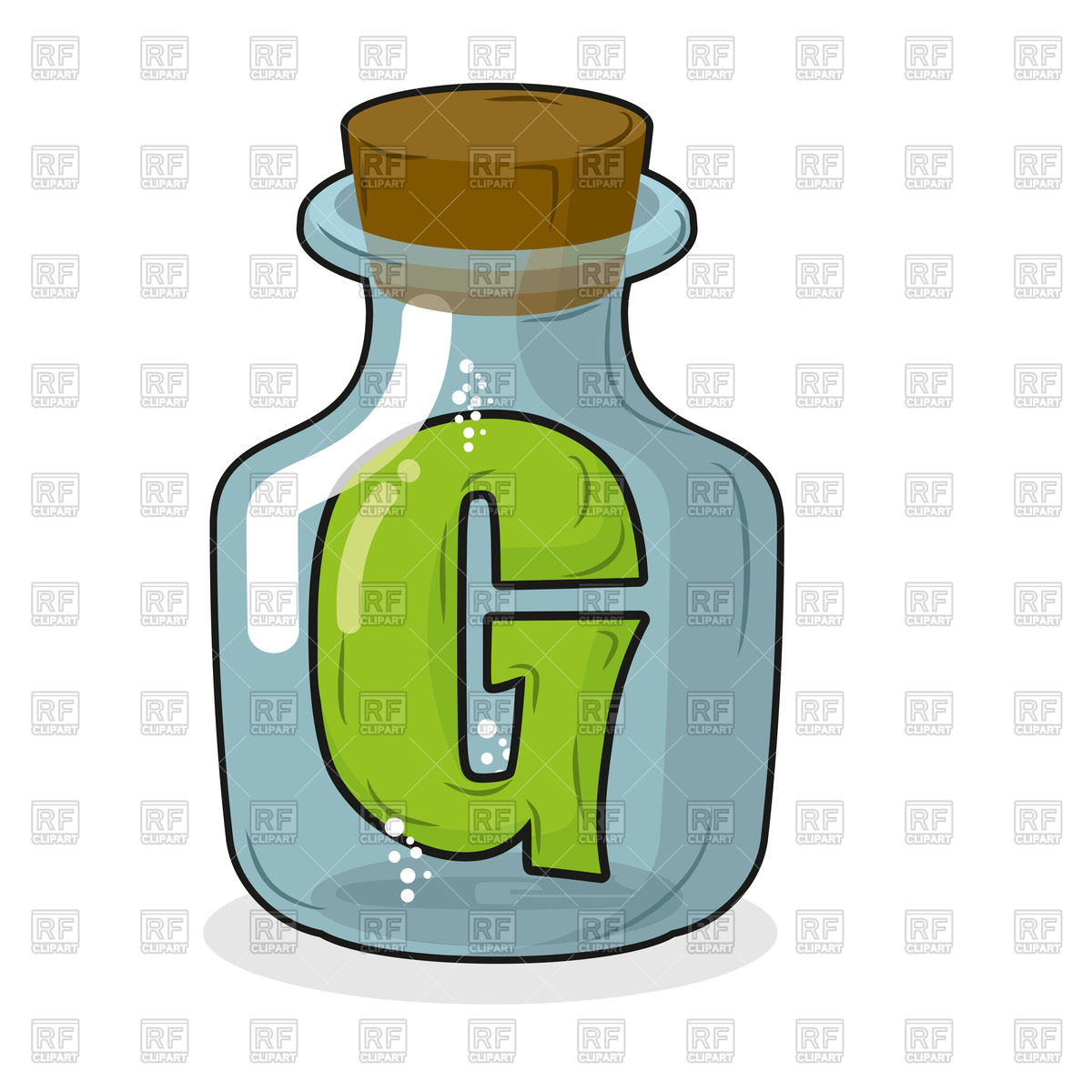 1200x1200 Letter G In Bottle For Scientific Research Royalty Free Vector