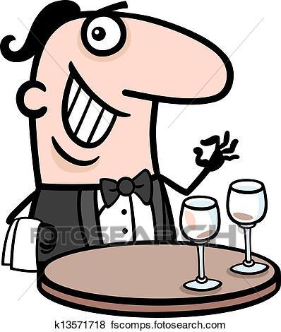 398x470 Clip Art Of Waiter In Restaurant Cartoon Illustration K13571718