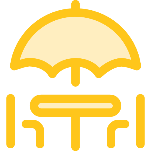 512x512 Terrace, Miscellaneous, Restaurant, Sun Umbrella, Chairs Icon