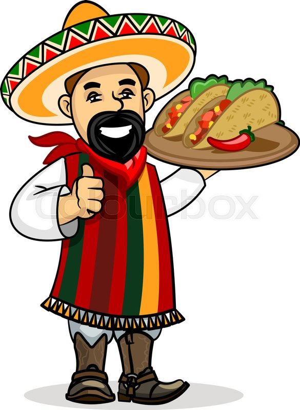 585x800 Mexican Cuisine Icon. Smiling Latino Chef Cook In National