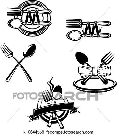 406x470 Clip Art Of Restaurant Menu Symbols And Embellishments K10644558