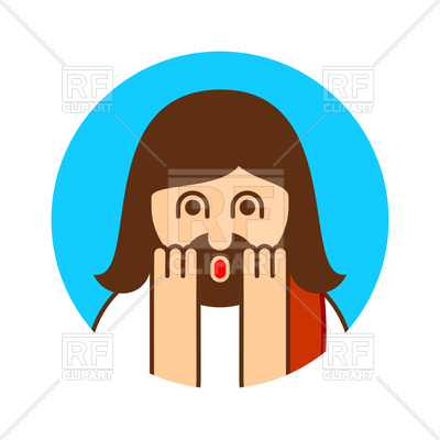 400x400 Oh My God Jesus Emotion. Funny Icon. Royalty Free Vector Clip Art