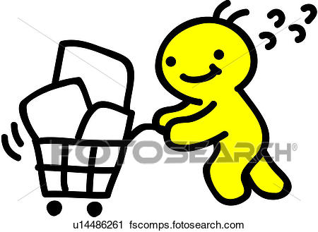450x329 Clipart Of Shopping Cart, Person, People, Grocery, Cart U14486261