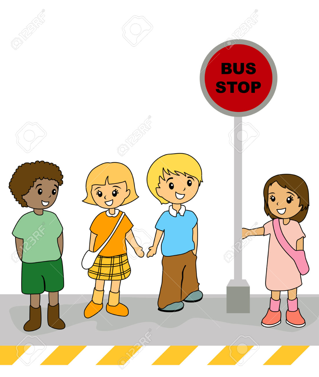 1101x1300 Illustration Of Kids At The Bus Stop Royalty Free Cliparts