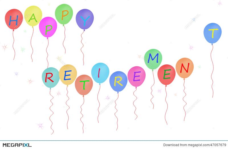 800x523 Happy Retirement Party Balloon Banner, White Background