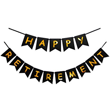 355x355 Happy Retirement Banner Black And Gold Party Bunting