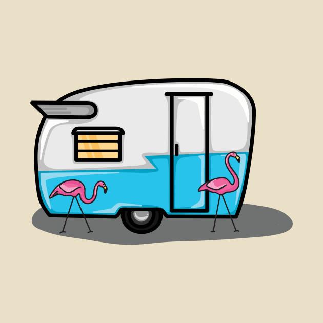 630x630 Retro Blue Flamingo Campers