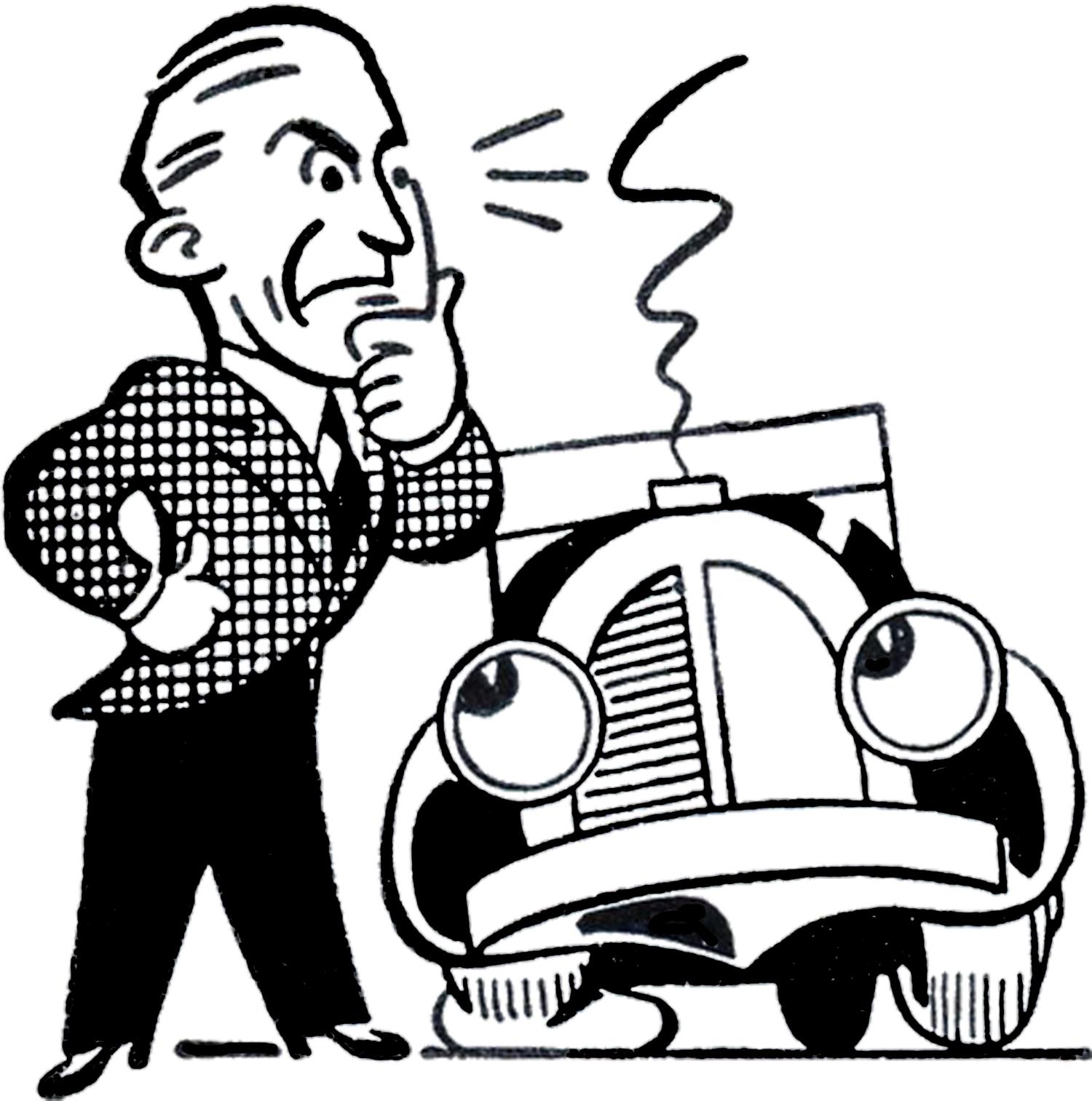 1500x1513 Retro Car Trouble Clip Art