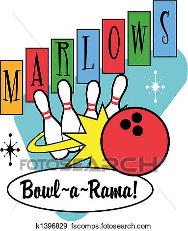 383x470 Clip Art Of Bowling Ball Pins Retro Clip Art K1396829