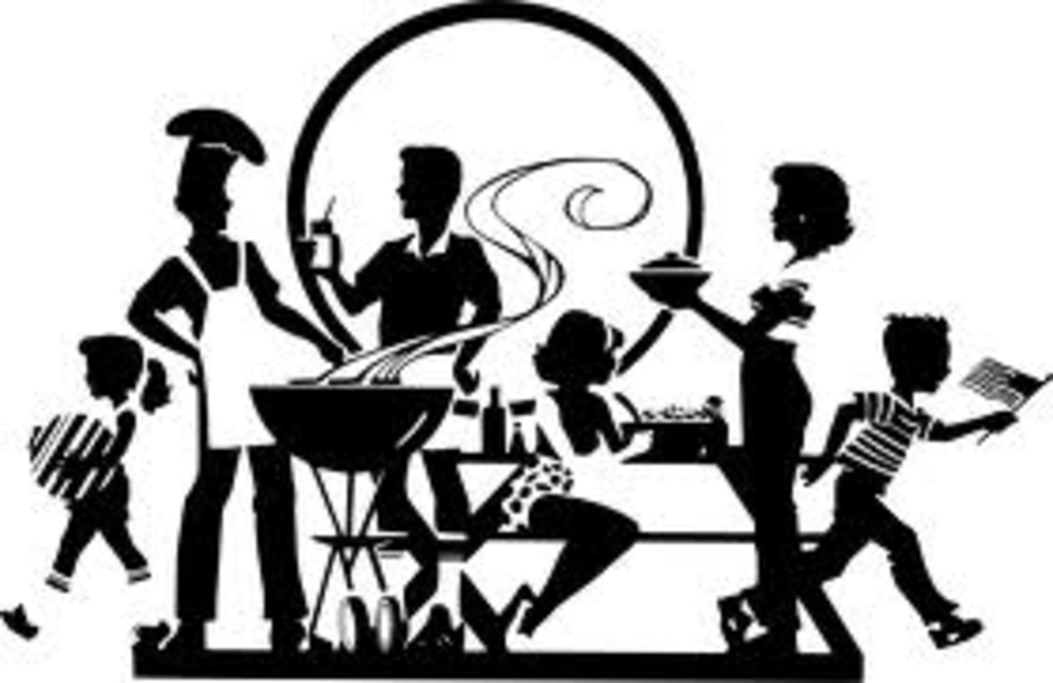 1500x973 Retro Clipart Dinner Party