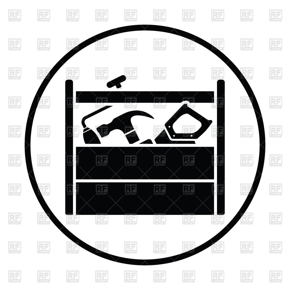 1200x1200 Thin Circle Design Of Retro Tool Box Icon Royalty Free Vector Clip