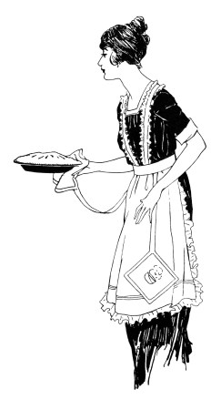 243x450 Vintage Food Clipart, Woman Serving Pie, Free Black And White Clip