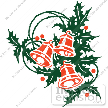 450x450 Clipart Of Retro Christmas Holly Sprig And Ringing Bells