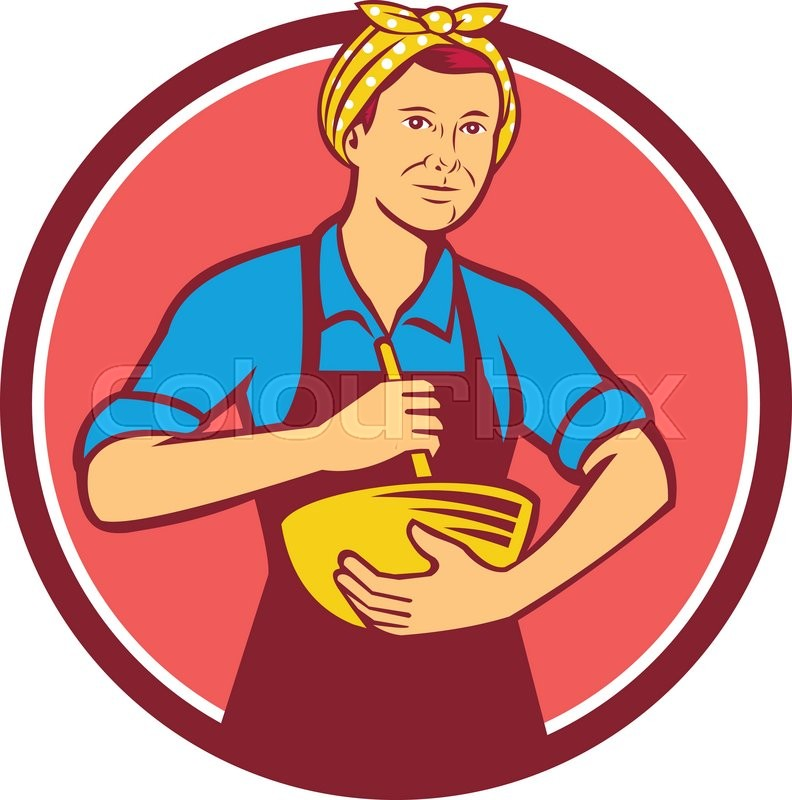 792x800 Illustration Of A Housewife Woman Cook Wearing Bandana Holding