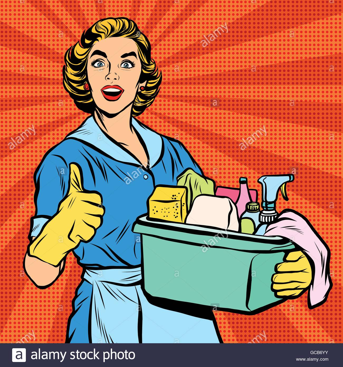 1300x1390 Quality Home Cleaning, Pop Art Retro Housewife Stock Vector Art