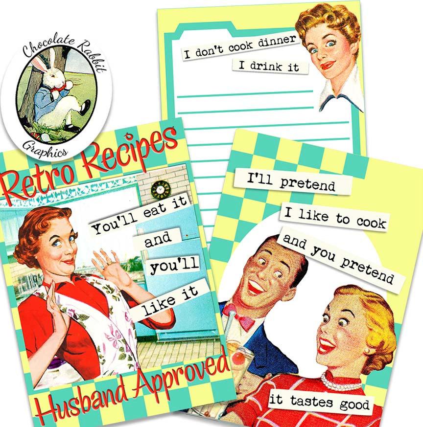 864x873 Recipe Card Envelope Pocket Letters 1950s Digital Download