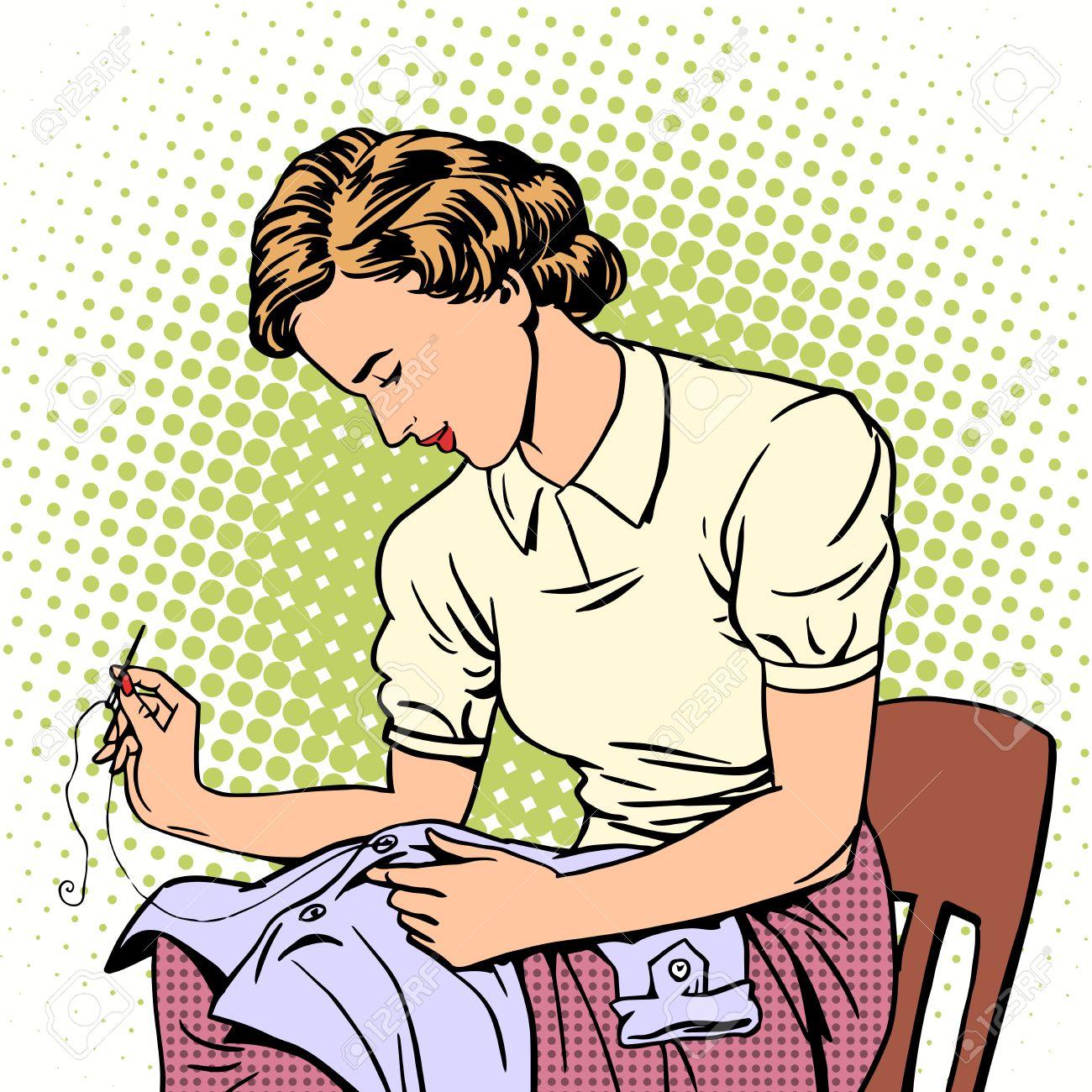1300x1300 Woman Sews Shirt Thread Housewife Housework Comfort Retro Style