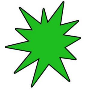 300x300 Clipart Graphic Of A Green Star Burst With A Black Outline