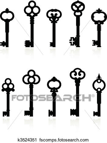 353x470 Clipart Of Antique Keys Collection K3524351
