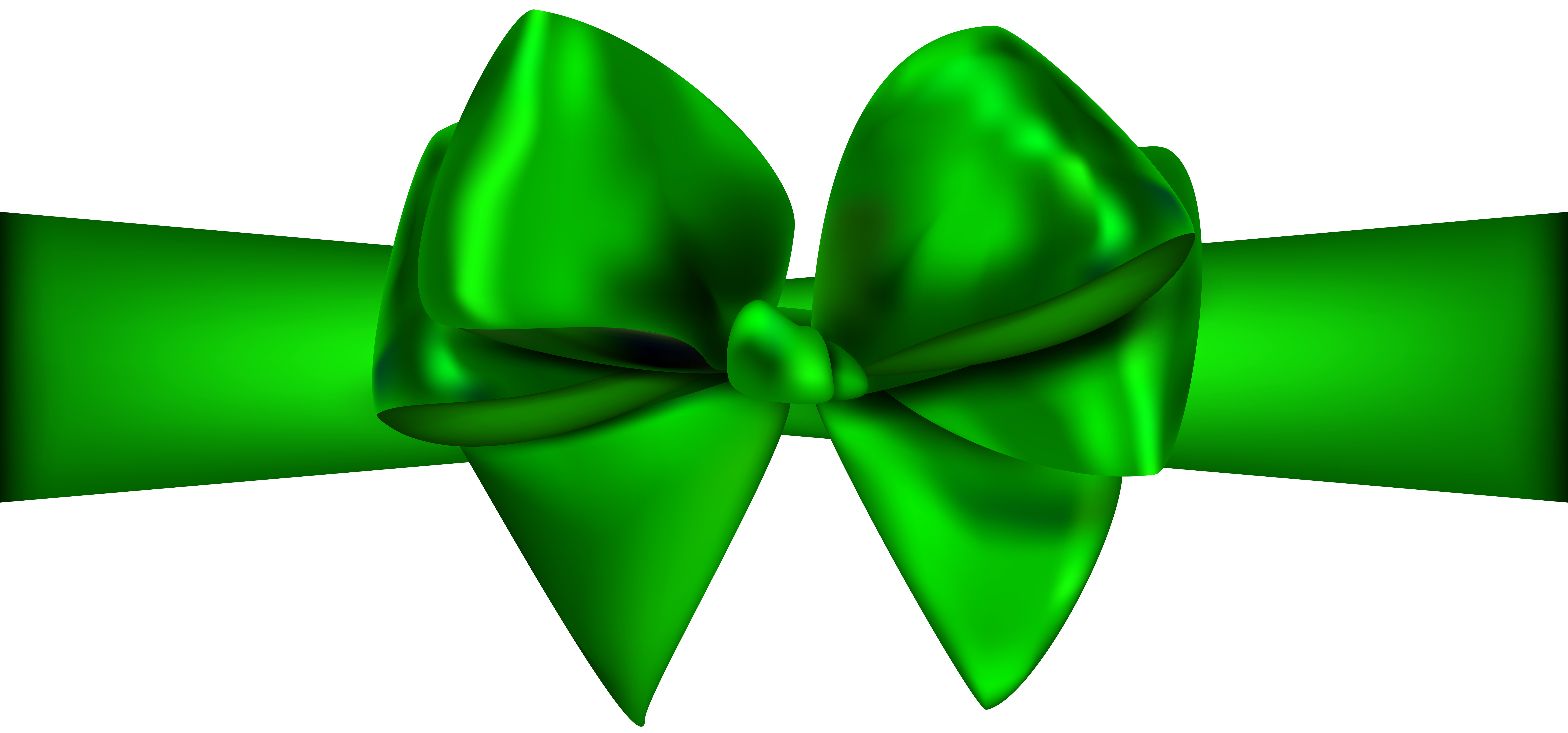 7000x3274 Green Ribbon With Bow Png Clip Art