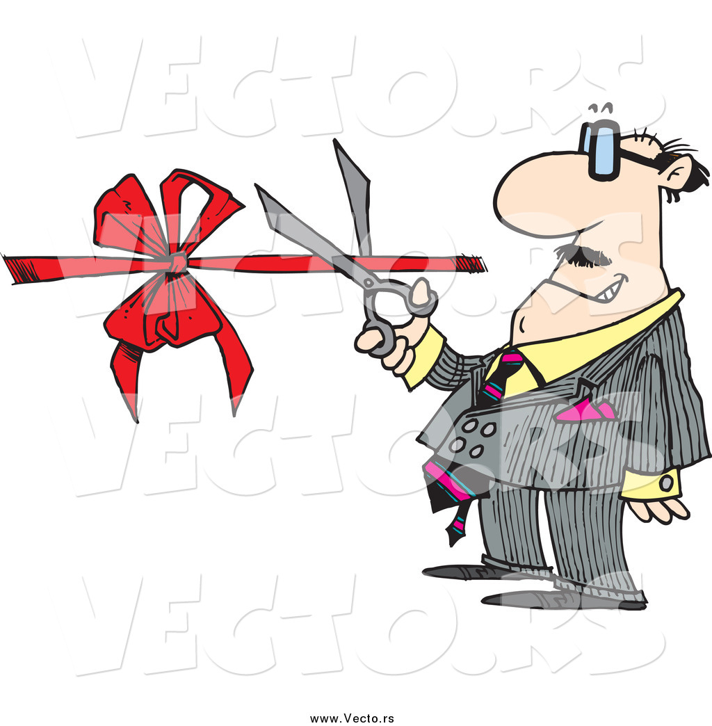 1024x1044 Vector Of A Cartoon White Businessman Performing A Ribbon Cutting