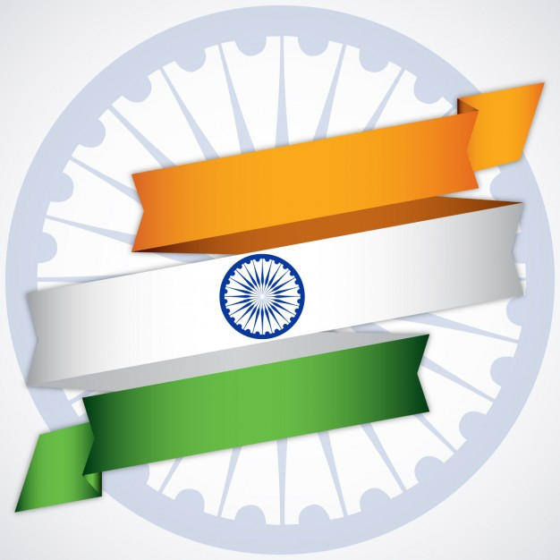 626x626 Background With Ribbon With Indian Flag Colors Vector Free Download