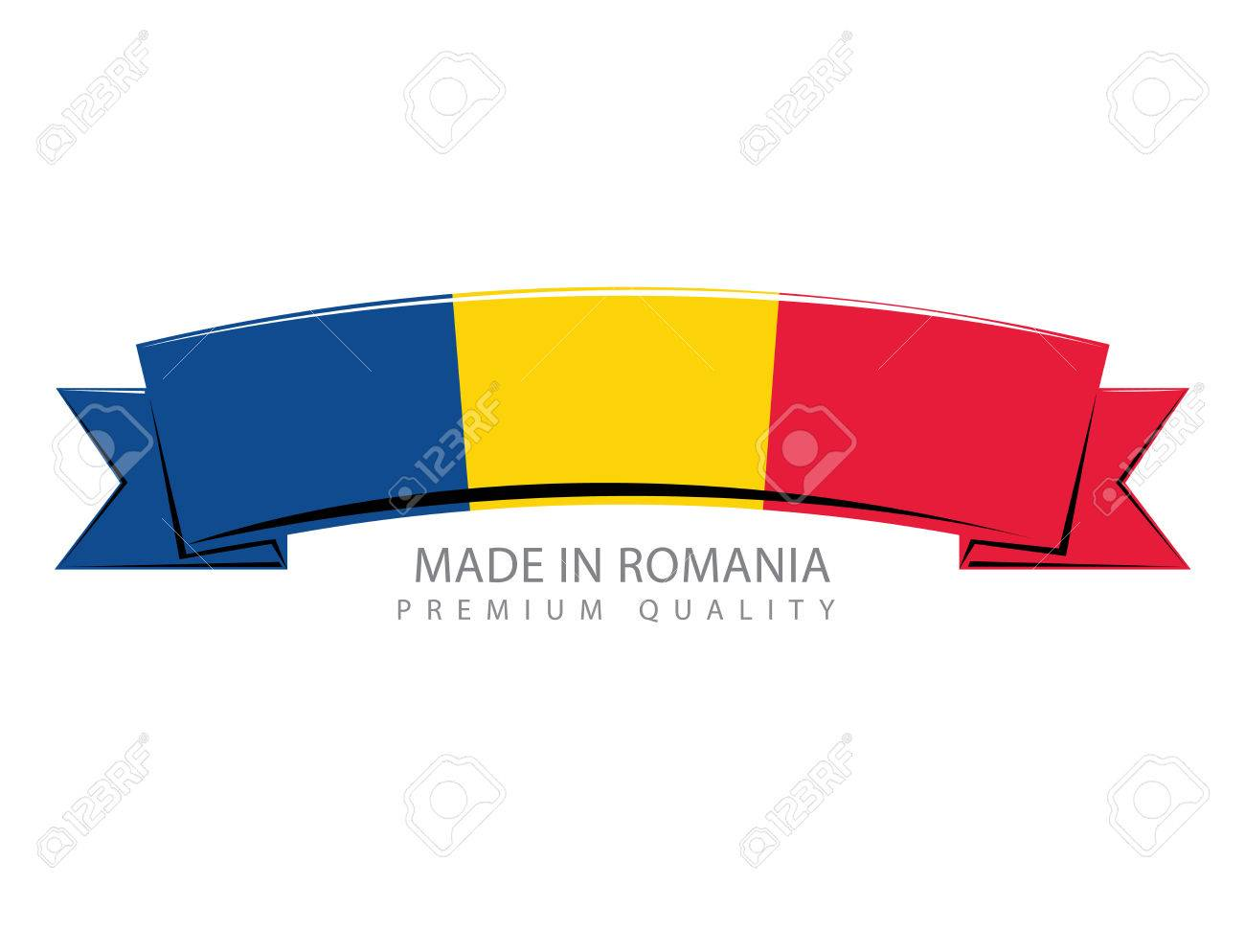1300x994 Made In Romania Ribbon, Romanian Flag (Vector Art) Royalty Free