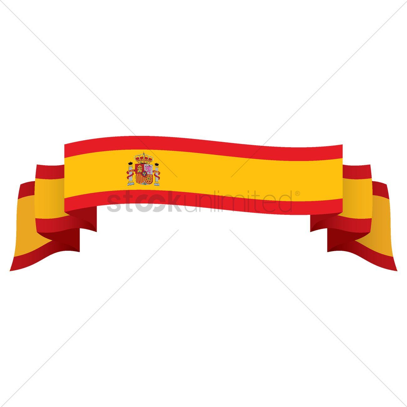1300x1300 Spain Flag Ribbon Vector Image