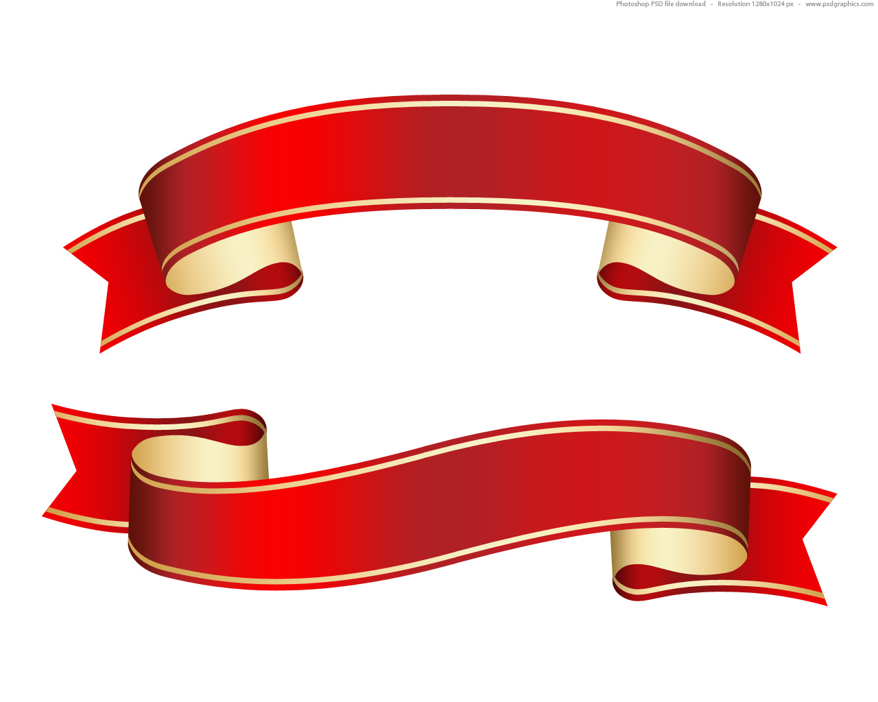 1280x1024 Curled Red Ribbon (Banner), Psd Template Psdgraphics