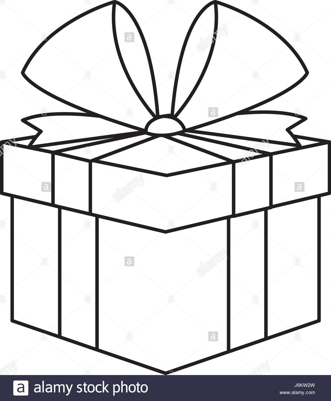 1146x1390 Christmas Present Box Gift Ribbon Decoration Outline Stock Vector