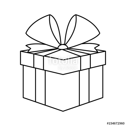 500x500 Christmas Present Box Gift Ribbon Decoration Outline Vector