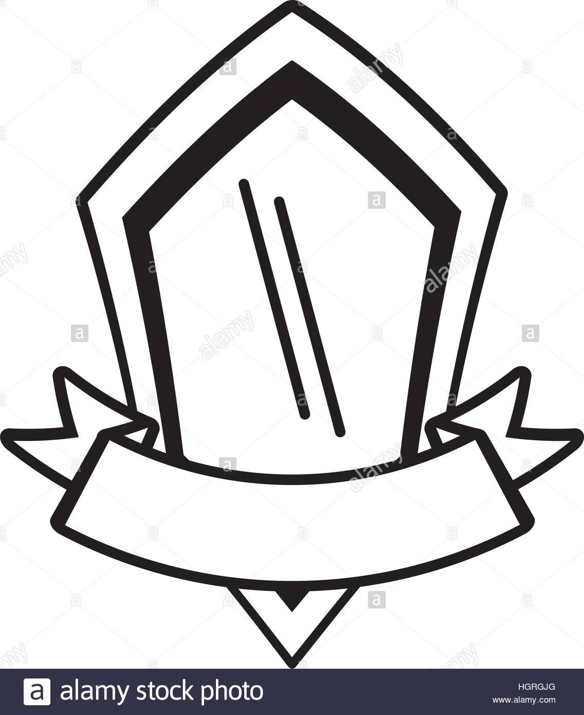 1136x1390 Shield Premium Badge Ribbon Outline Empty Vector Illustration Eps
