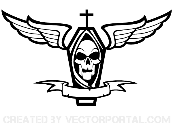 600x450 Vector Coffin With Cross, Skull, Wings And Ribbon 123freevectors