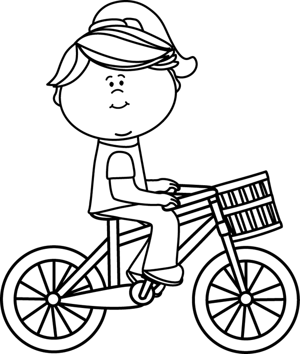 600x707 Black Amp White Girl Riding A Bicycle With A Basket Clip Art