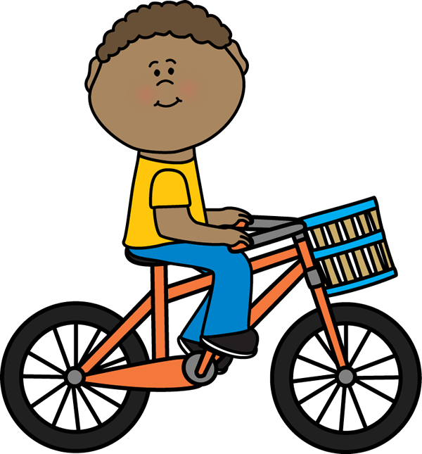 600x645 Boy Riding A Bicycle With A Basket Clip Art