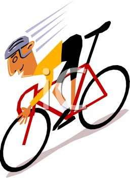 257x350 Clip Art Illustration Of A Man Riding A Red Bicycle