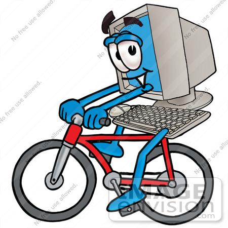 450x450 Cliprt Graphic Of Desktop Computer Cartoon Character Riding