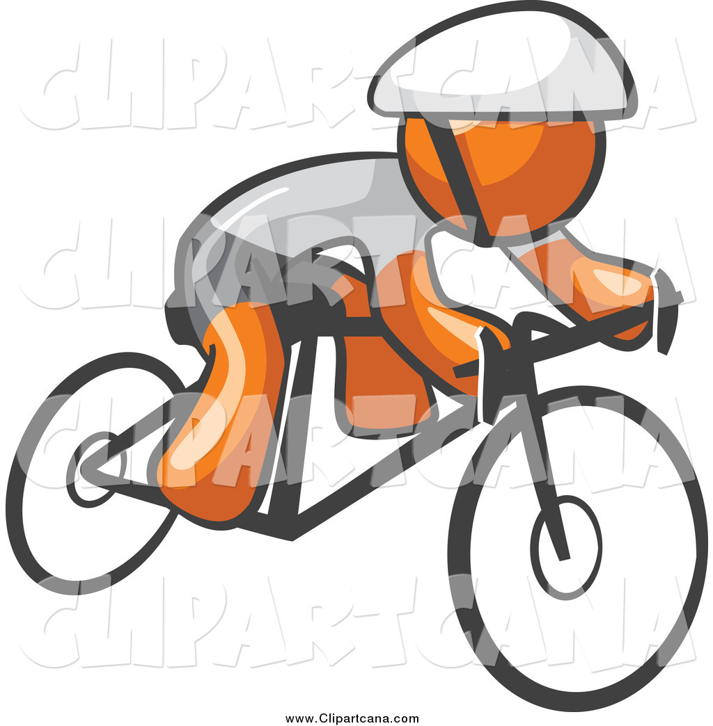1024x1044 Clip Art Of An Orange Man Cyclist Riding A Bike By Leo Blanchette