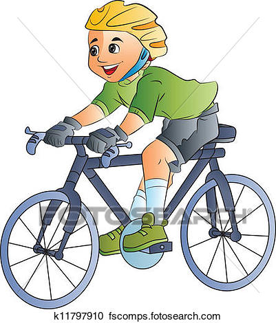 401x470 Clipart Of Boy Riding A Bicycle, Illustration K11797910