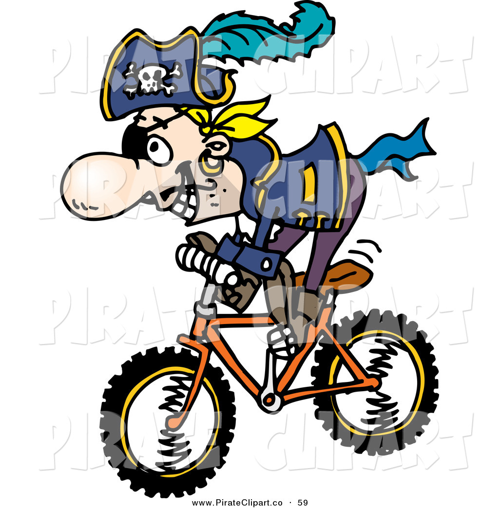 1024x1044 Vector Clip Art Of A Happy Pirate Guy Riding A Bike By Dennis