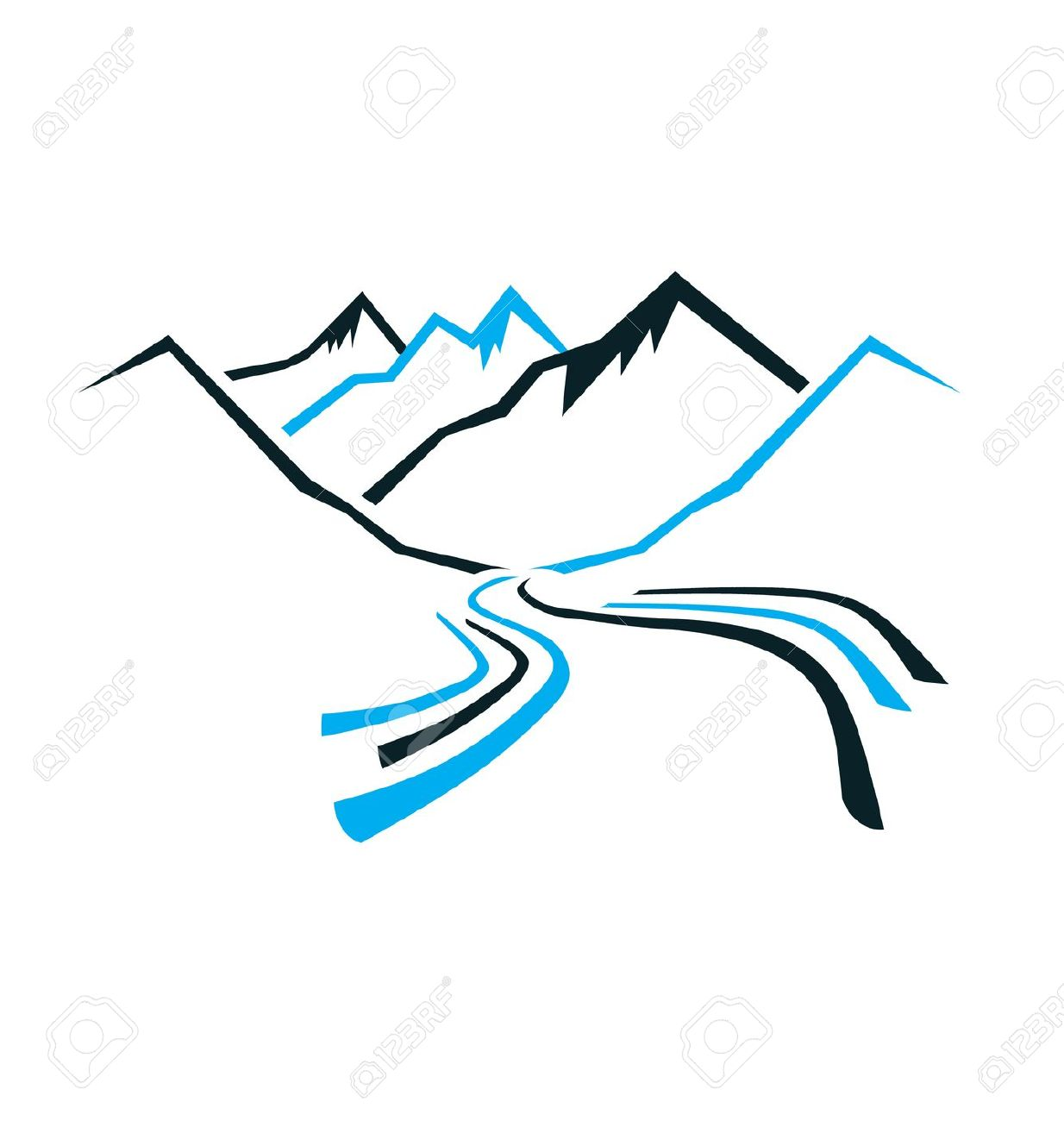 1234x1300 River clipart mountain logo
