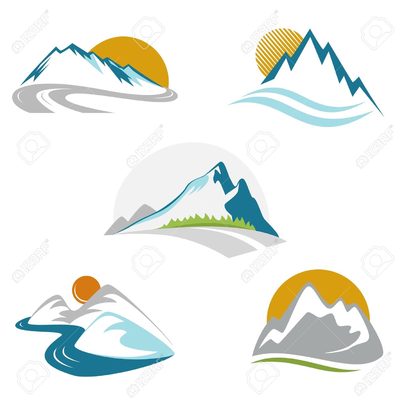 1300x1281 mountain river clipart
